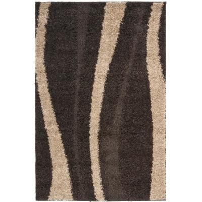 Safavieh Florida Shag Dark Brown Beige 8 Ft X 10 Ft Area Rug