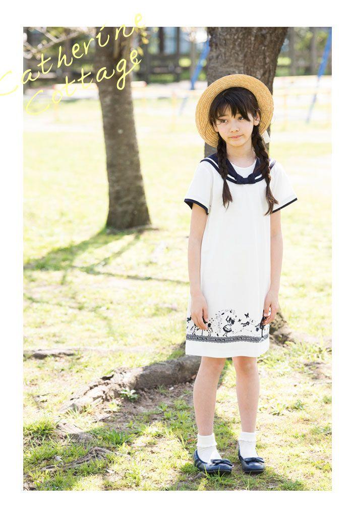 6982d38300a56 女の子 Tシャツ かわいい アリス柄セーラーワンピース 半袖  子供服  キッズ ジュニア 普段着