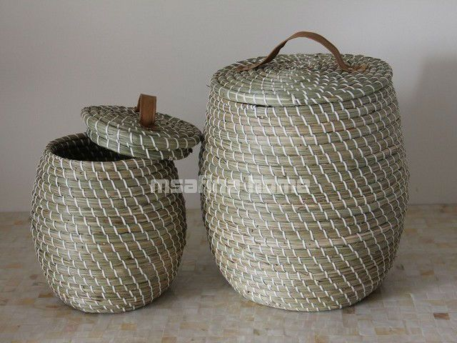 Korb badezimmer ~ Pe linien seegras ablagekorb mit deckel buy product on alibaba