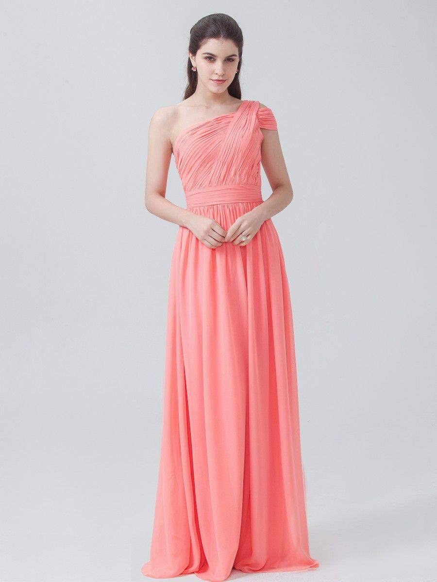 One shoulder chiffon dress color peach pink fabric chiffon one shoulder chiffon dress color peach pink fabric chiffon ombrellifo Images