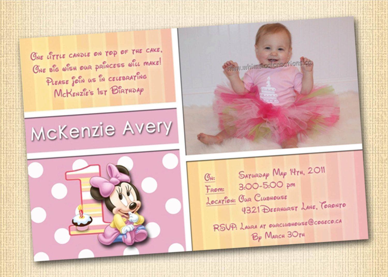 Minnie Mouse 1st Birthday Invitation Digital File Minnie Mouse