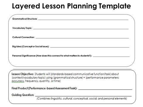 Layered Lesson Planning Templateg 480360 Pixels French I V