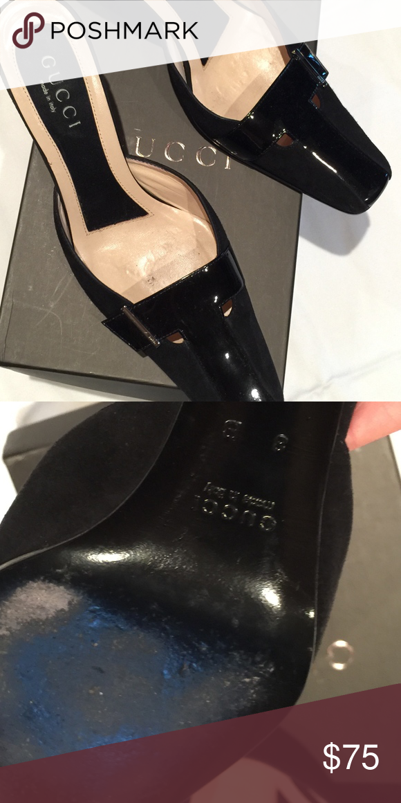 9b027fac13d5 US 8 Gucci Black Patent mule Vintage Gucci Shoes Mules   Clogs