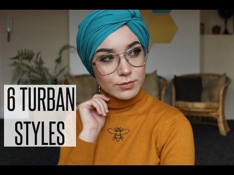 6 Turban Styles With Chiffon Scarves Nabiilabee Youtube