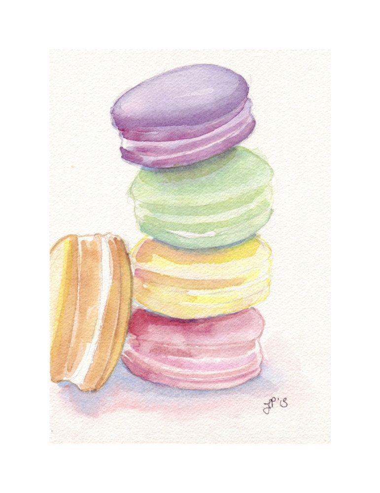 Laduree Macarons No 5 Watercolor Painting 5x7 Print Four Etsy Watercolor Art Prints Original Watercolor Painting Original Watercolors