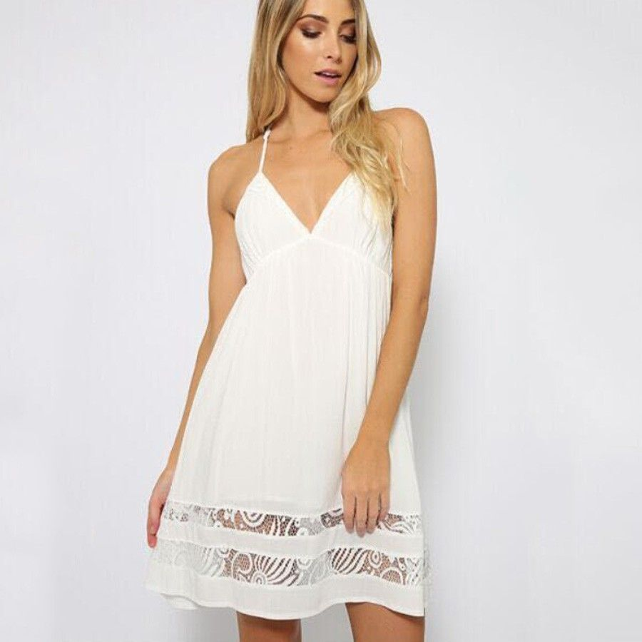 Sleeveless White Dress With Lace Si Joly Long Dress Casual Summer White Sleeveless Dress Womens Dresses [ 900 x 900 Pixel ]