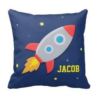 Rocket Ship, Outer Space, For Kids Room Throw Pillows