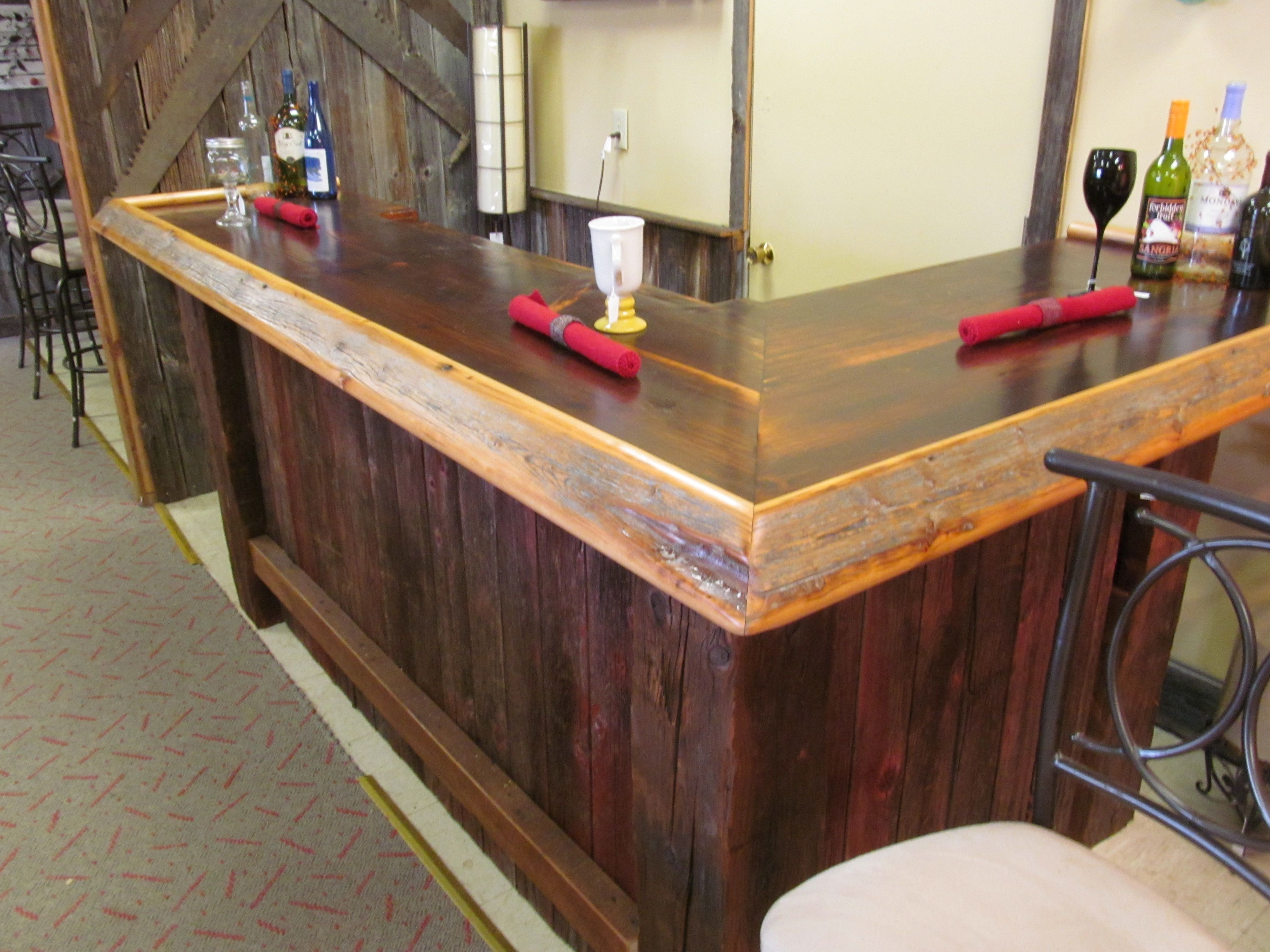 Reclaimed wood bar made from old barn wood bars bars for Diy outdoor bar top