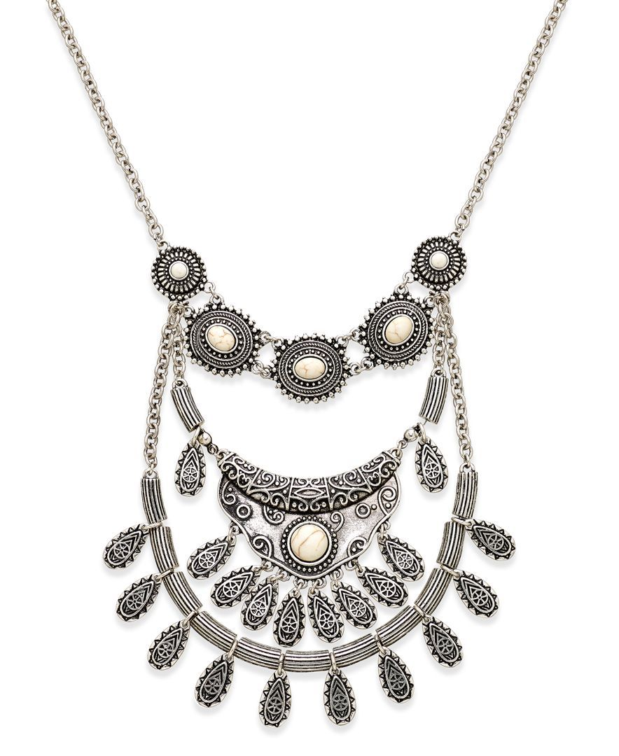 Silvertone triplerow bib necklace products pinterest bibs