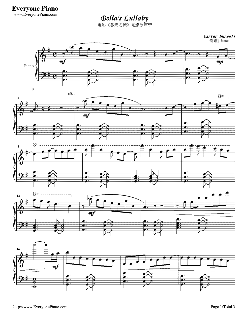 Free Bella S Lullaby Sheet Music Preview 1 Clarinet Music Jazz Piano Piano Sheet Music