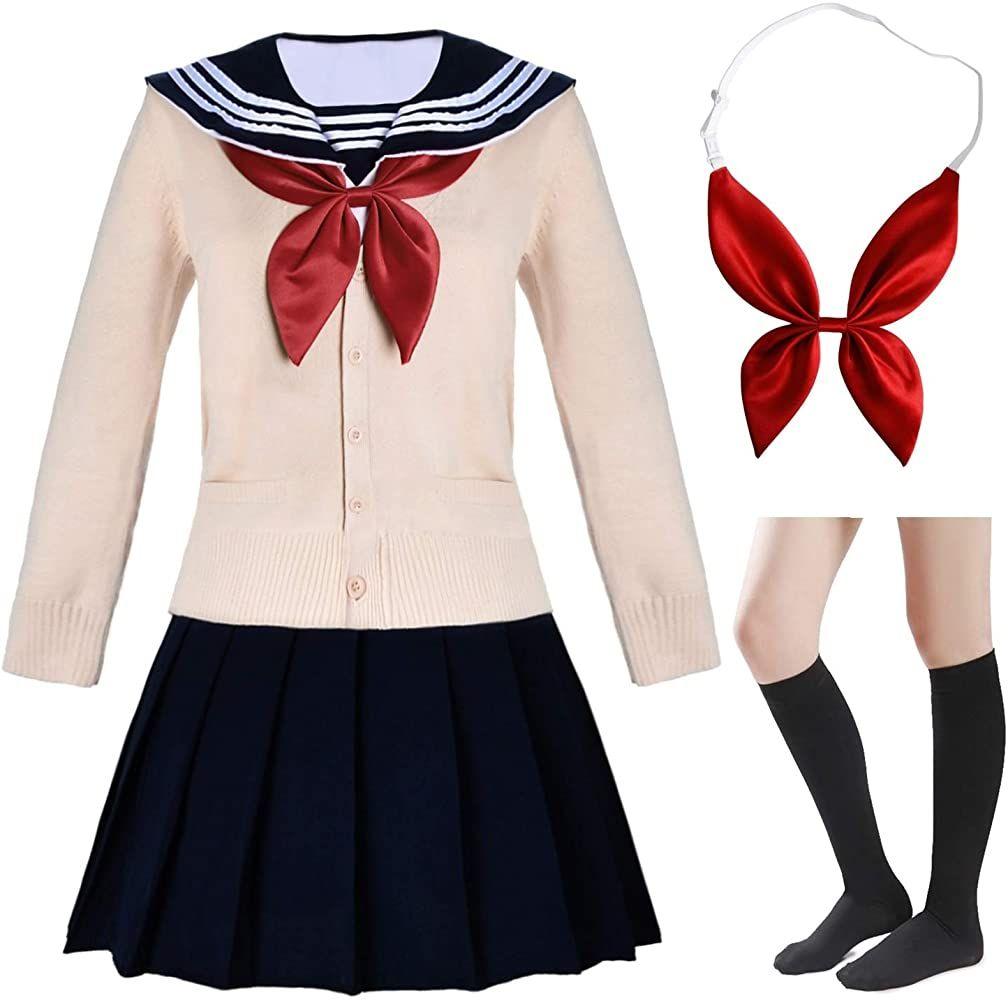Amazon Com Elibelle Japanese School Girls Short Sleeve Uniform Sailor Navy Blue Pleated Skirt Anime Co Blue Pleated Skirt Costume Socks Anime Cosplay Costumes