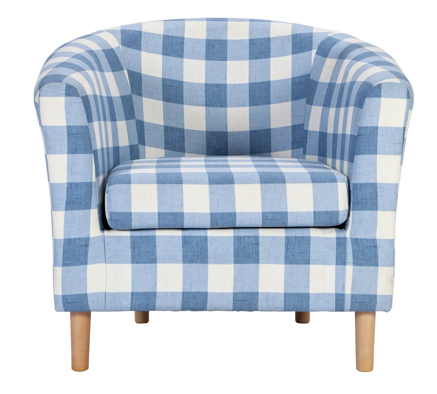 Buy HOME Molly Fabric Check Tub Chair - Blue at Argos.co.uk, visit ...