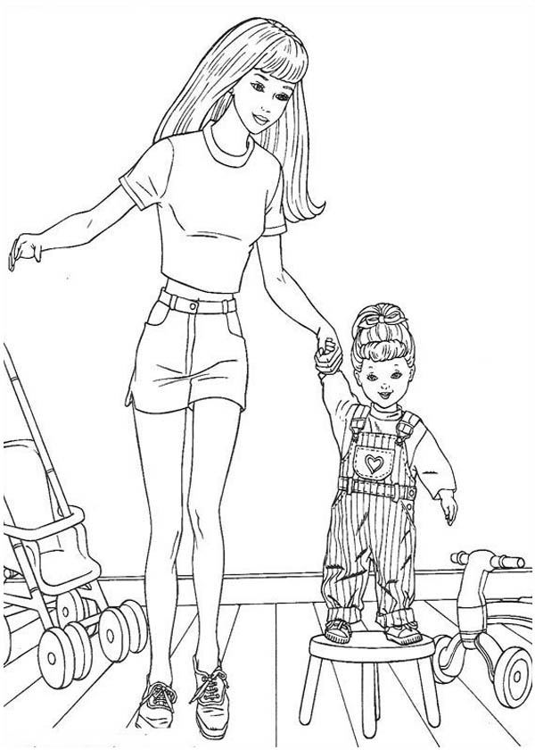 Teach Little Kid To Be Fashion Model Coloring Page Coloring Sky Barbie Coloring Pages Baby Coloring Pages Disney Princess Coloring Pages