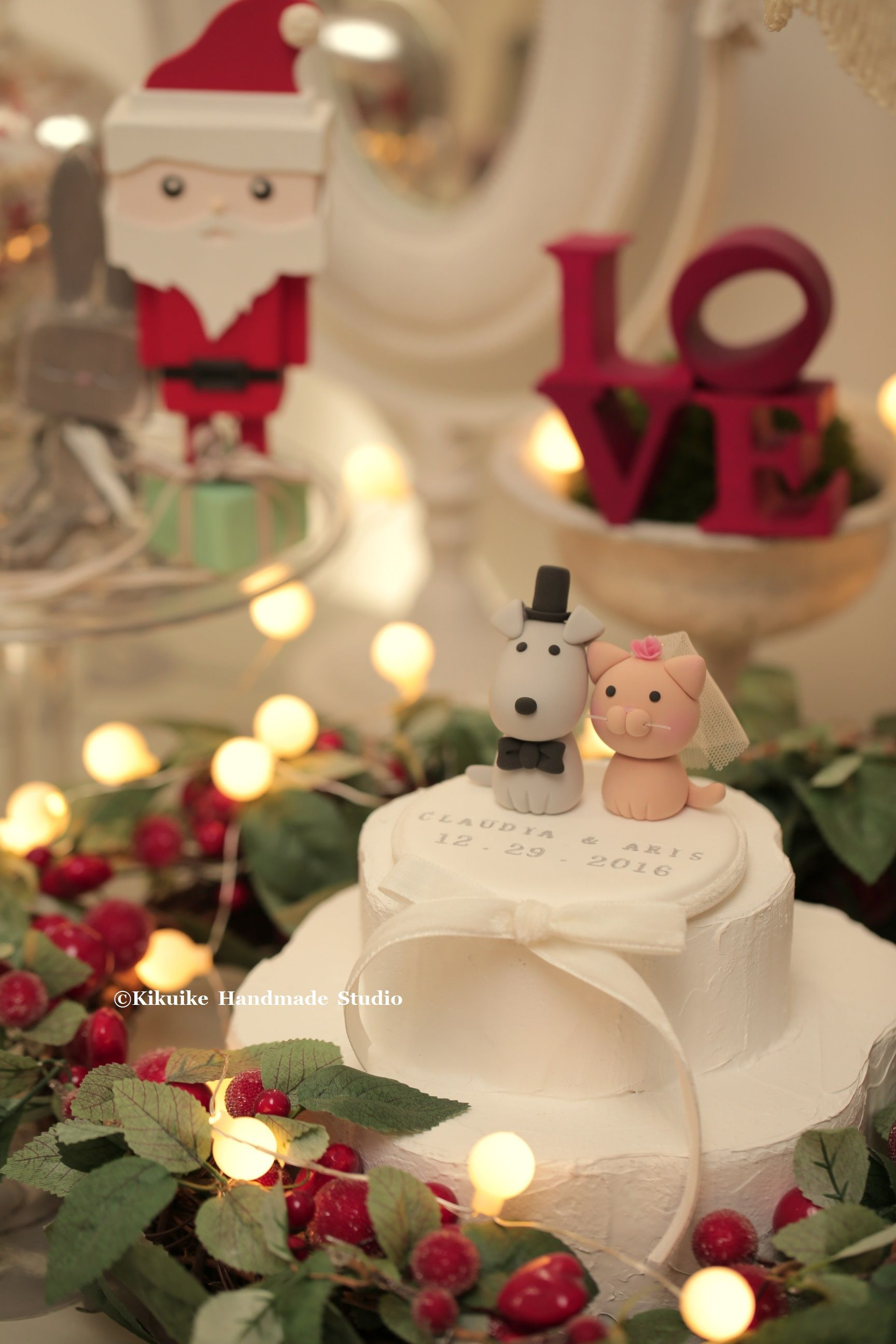Cat And Dog Wedding Cake Topper Christmas Theme Ideas Kitten Kitty