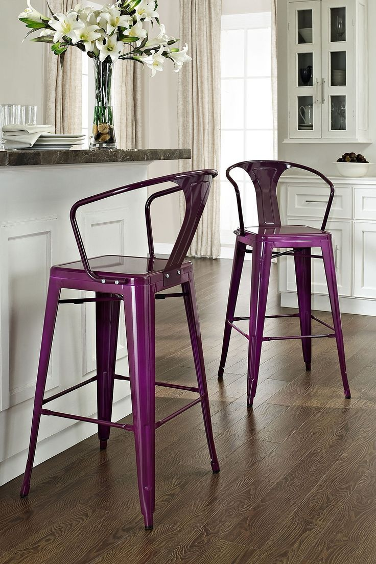18 Brilliant Kitchen Bar Stools That Add A Serious Pop Of Color With Images Metal Bar Stools Bar Stools With Backs Bar Stools