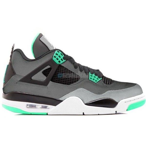 631152248914 Air Jordan IV 4 Retro Green Glow Dark Grey Green Glow-Cement... ( 120) ❤  liked on Polyvore featuring shoes