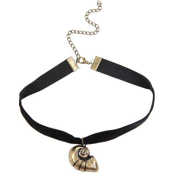 Disney The Little Mermaid Shell Choker Hot Topic (58 BRL) ❤ liked on Polyvore featuring jewelry, pendant jewelry, disney, gold tone jewelry, disney jewellery and black pendant
