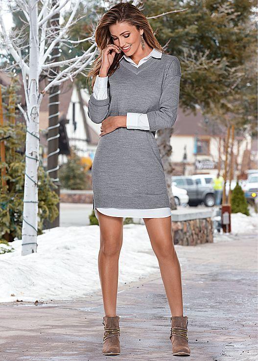 f8c10b950db venus collar detail sweater dress.