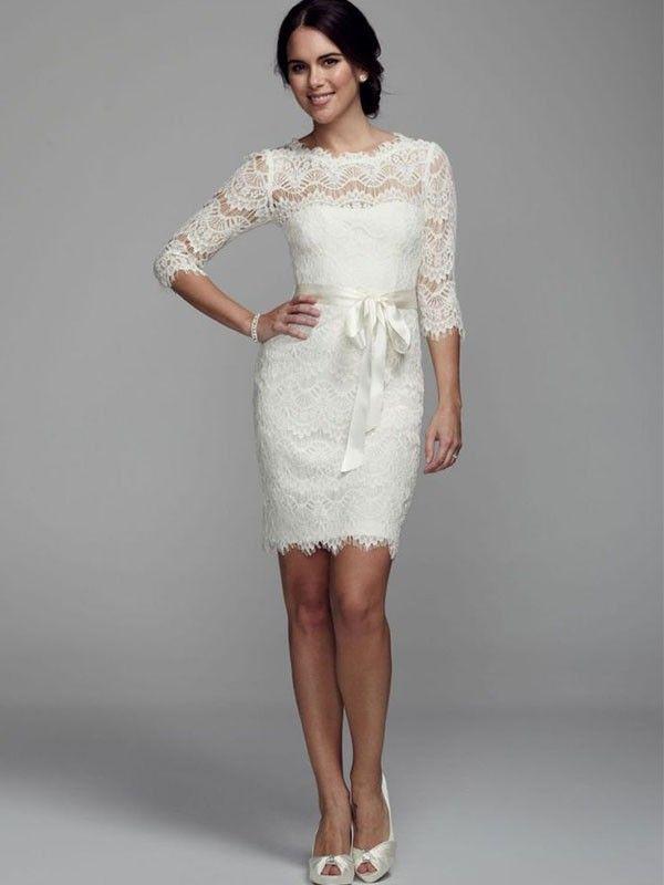 Vestidos para Casamento Civil | Tea length wedding dress, Tea length ...