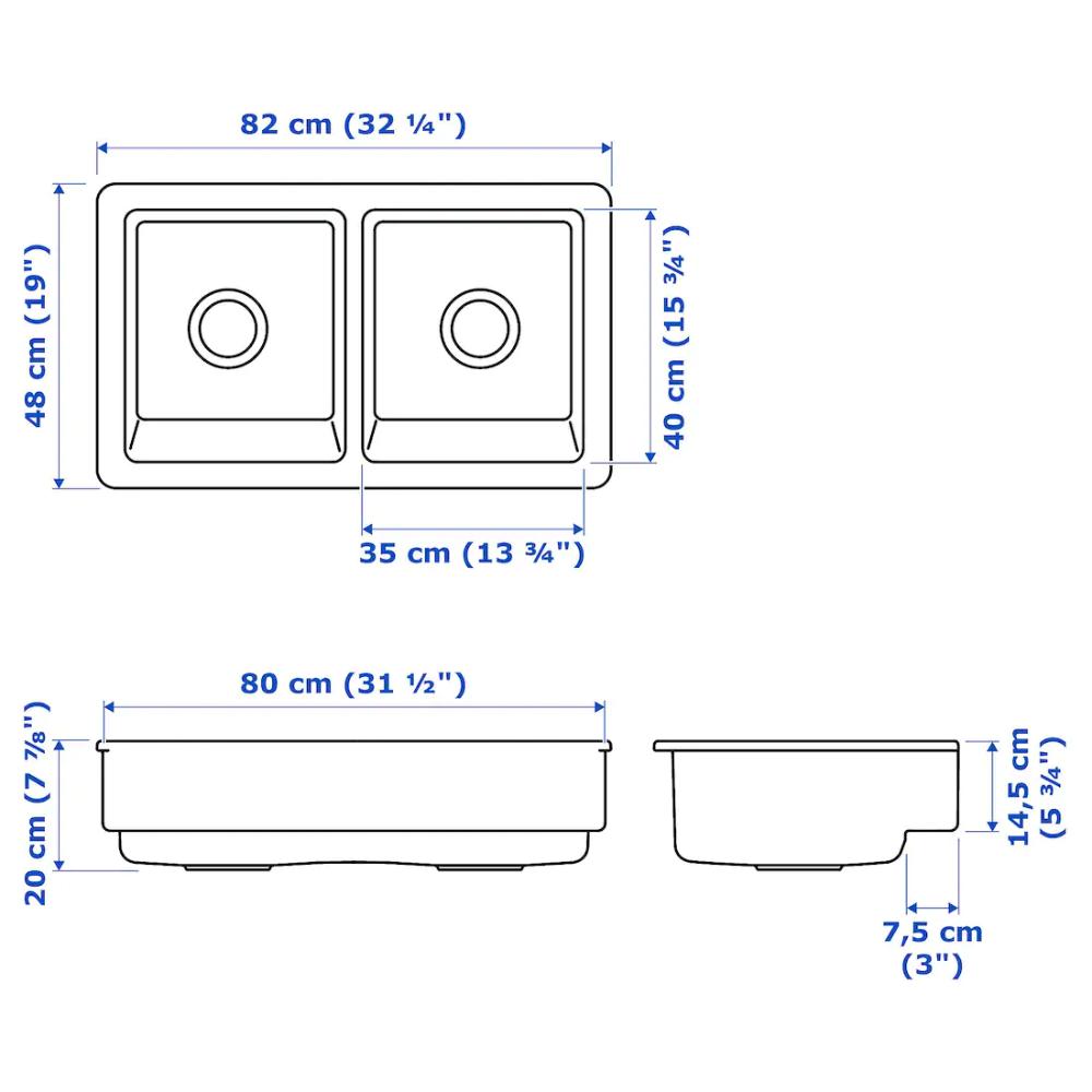 Havsen Evier 2 Bacs Face Avant Visible Blanc 82x48 Cm Ikea Evier Bac