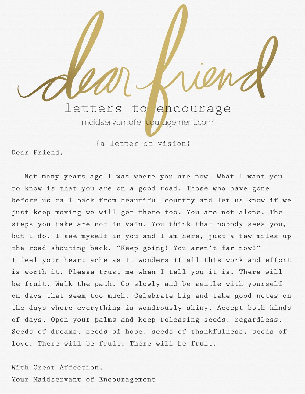 Dear Friend (Letters to Encourage from Maidservant of