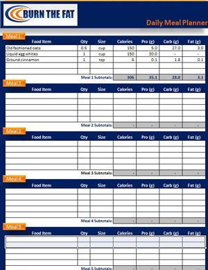 Burn The Fat Feed The Muscle Meal Planner Tracking Spreadsheet