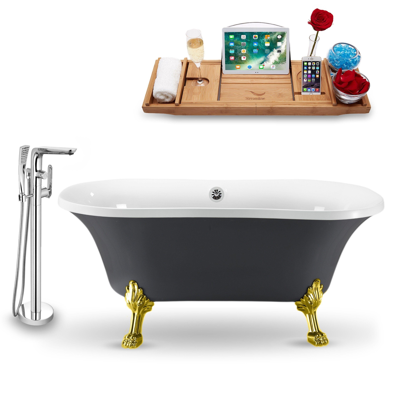Tub Faucet And Tray Set Streamline 60 Clawfoot Nh860gld Ch 120 Grey Soaking Bathtubs Tub Bathtub