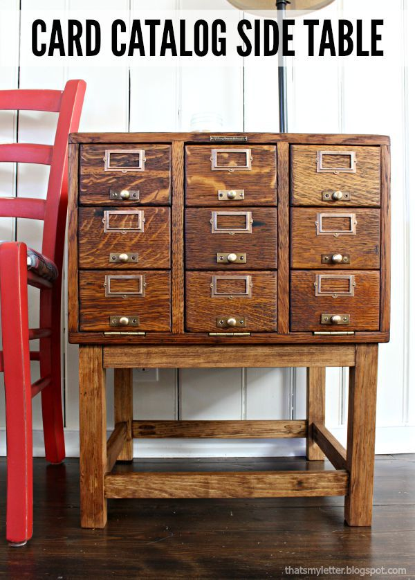 Repurpose It Challenge Card Catalog Side Table Card Catalog Side Table Makeover Diy Furniture