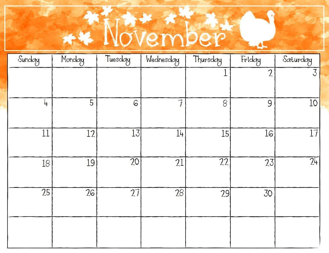 photograph about Blank November Calendar Printable titled Printable Calendar November 2018 Watercolor November 2018