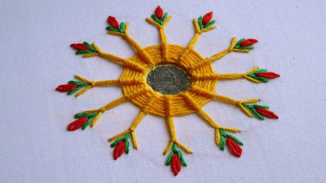 Hand Embroidery Mirror Work With Spider Web Stitch Hand Embroidery D Hand Embroidery Designs Japanese Embroidery Flower Embroidery Designs
