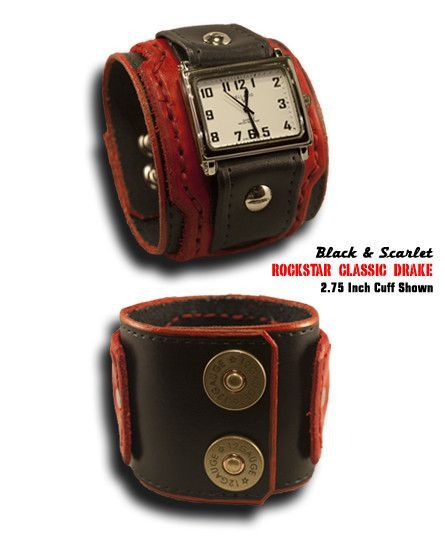 Black & Scarlet Rockstar Classic Drake Leather Cuff Watch with Double Snaps