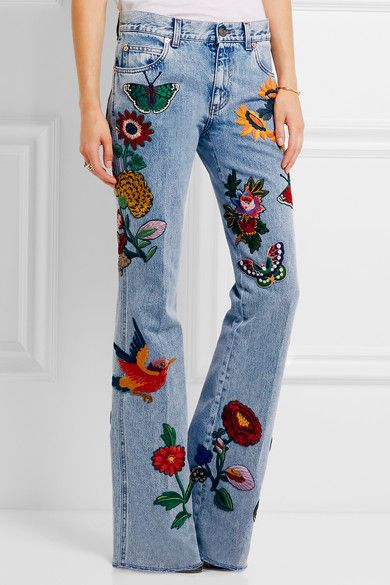 Gucci - Appliquéd mid-rise flared jeans