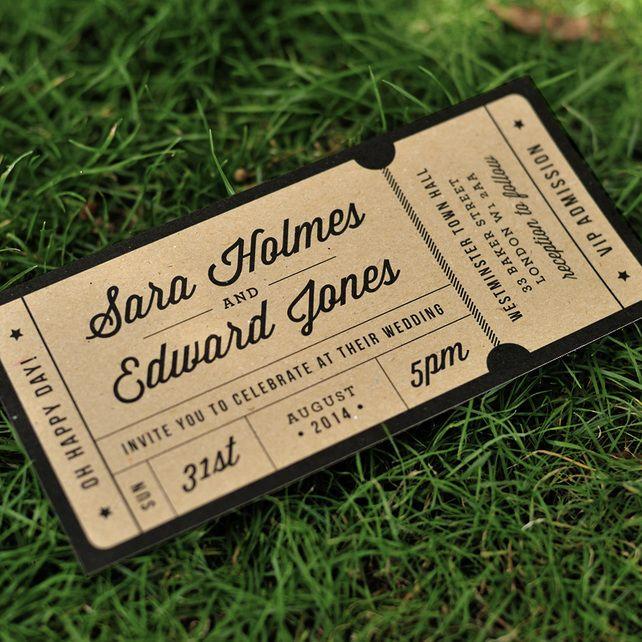 Admission Ticket Wedding Invitation - \'Just the Ticket\' Design - One ...