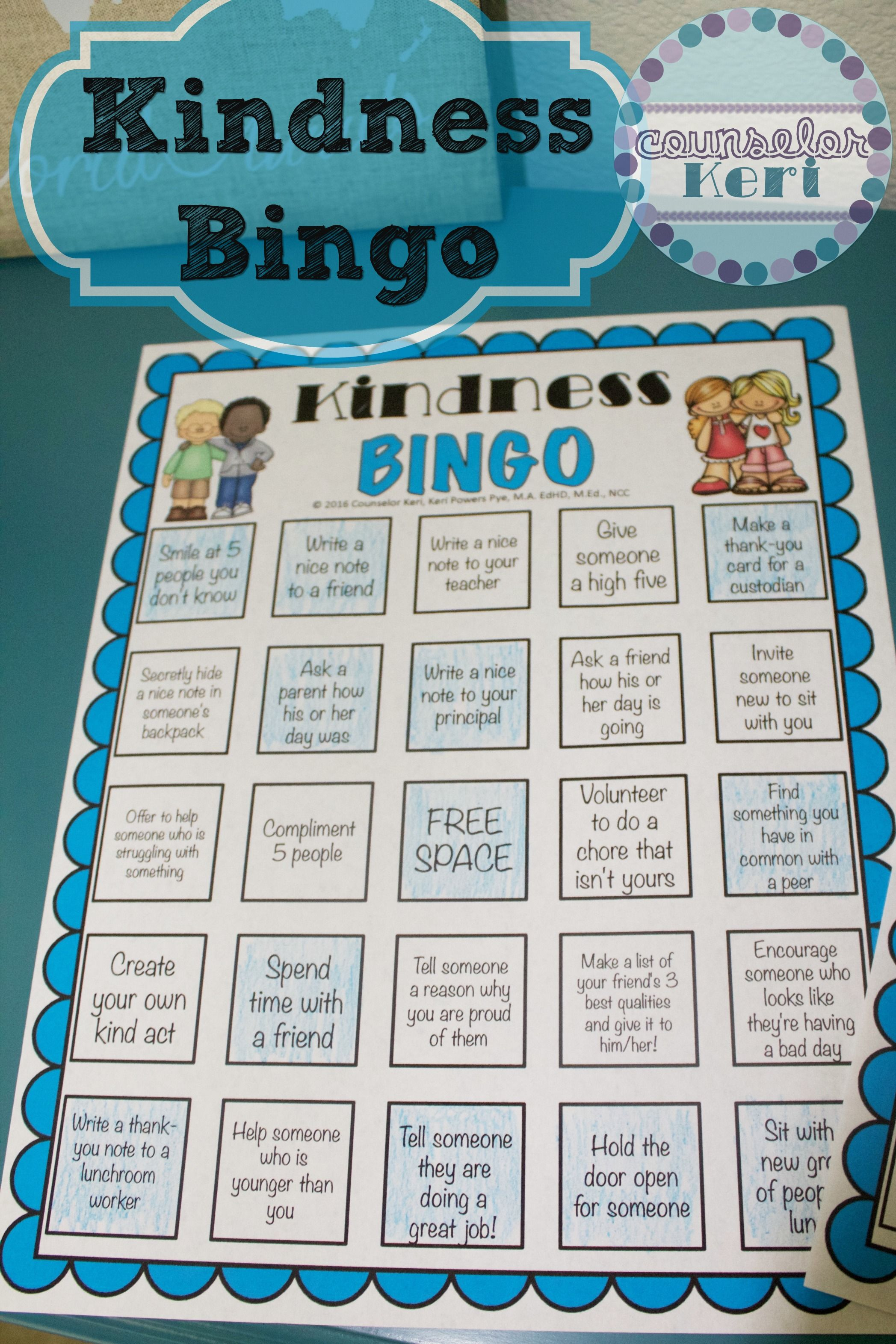 Free Kindness Bingo printables from Counselor Keri - 4 unique cards ...