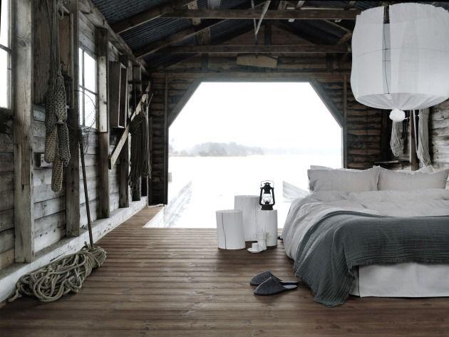 low bed on wooden floor