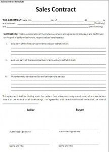 Free Sales Contract Template  Sales Contract