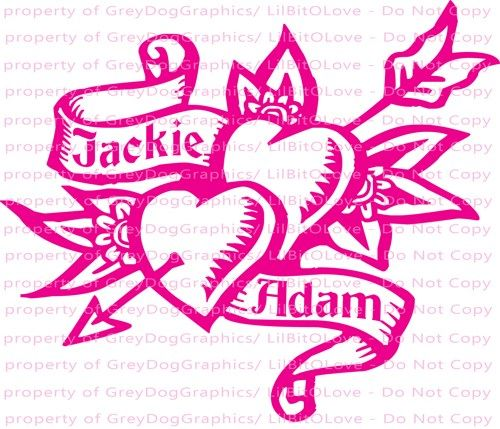 Personalized Double Heart Tattoo Vinyl Decal YOUR NAMES Custom - Custom vinyl decal stickers for boats