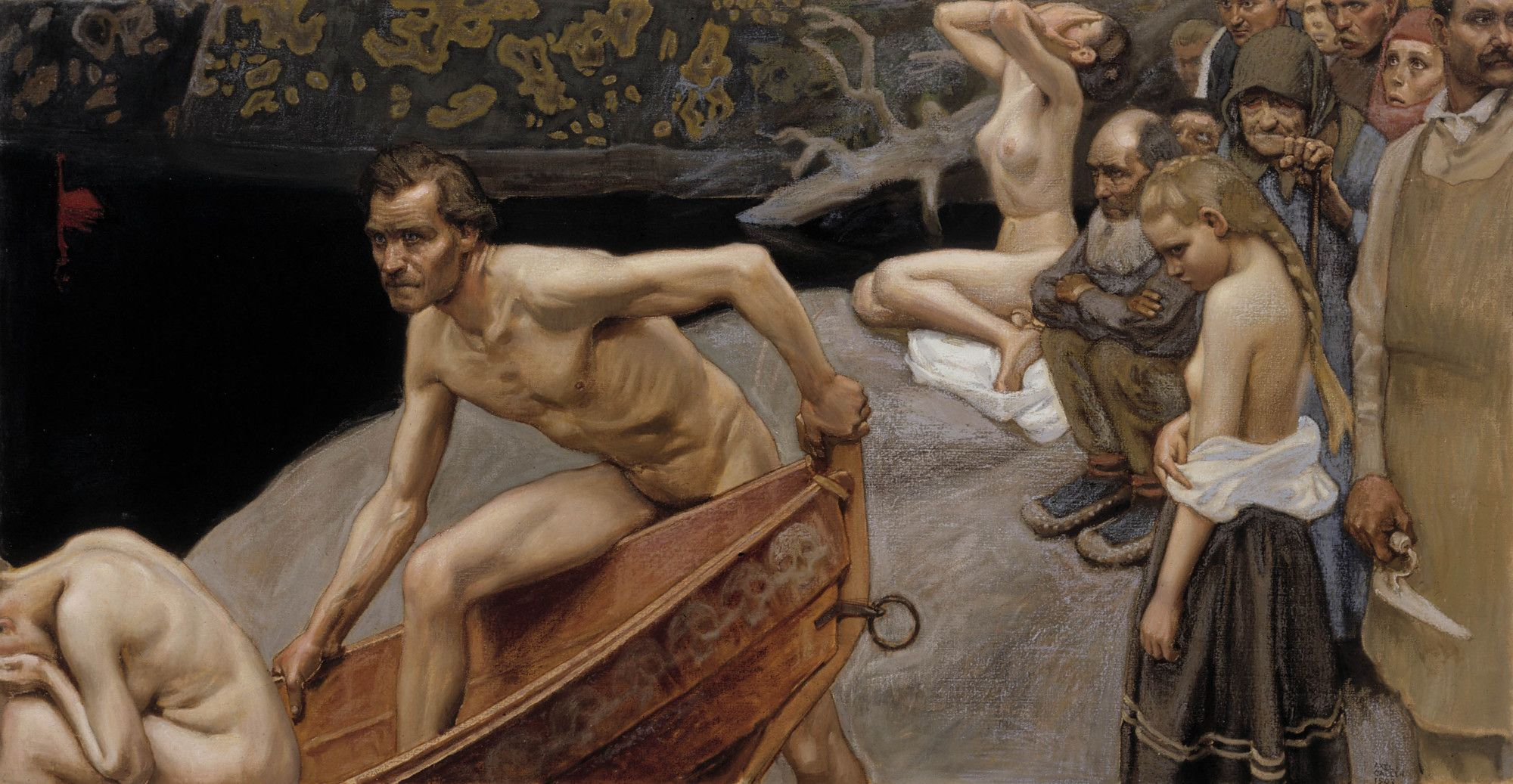 Akseli Gallen-Kallela, By the River of Tuonela, study for the Jusélius Mausoleum frescos, 1903, tempera on canvas
