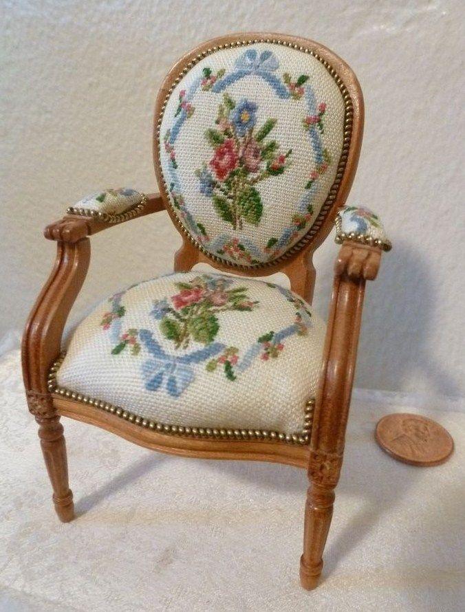 .miniature Needlepoint Chair