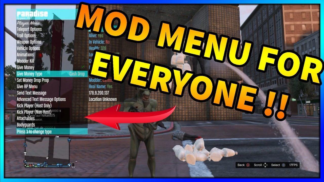 Gta 5 Online Paradise Mod Menu Give Player Mod Menu Sprx Ps3 Gta Gta 5 Online Gta 5 Gta 5 Mods