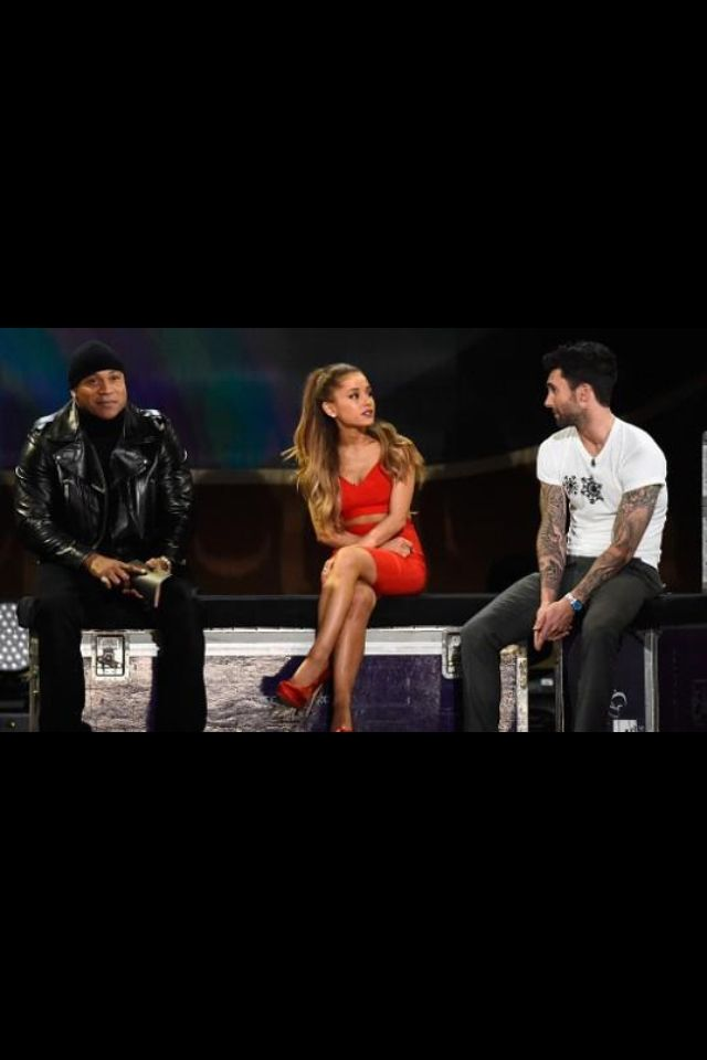 AG - being interviewed with Adam Levine and LL Cool J at the Grammy Christmas Special.