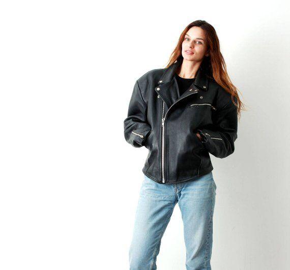 c2331b7f420 Leather Motorcycle Jacket 80s Biker Jacket Rockabilly Diagonal Zip Jacket  Studded Jacket Punk Rock Mod Rock Star Black Leather Jacket Large
