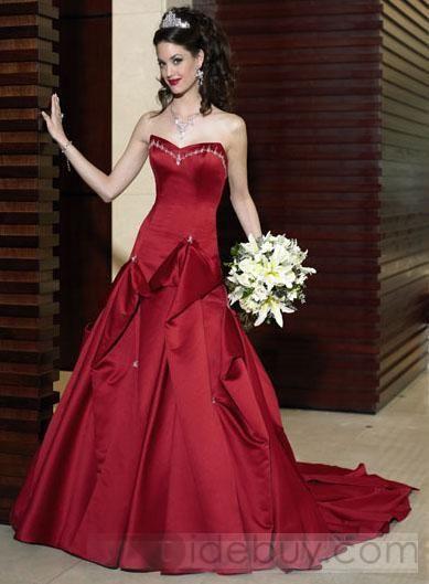 A-Line/Princess Strapless Chapel Train wedding dress for brides 2011 style(WDA1174)