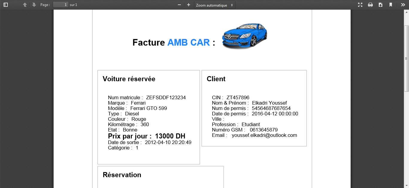 Facture PDF | Location de voiture, Ferrari gto, Site de ...