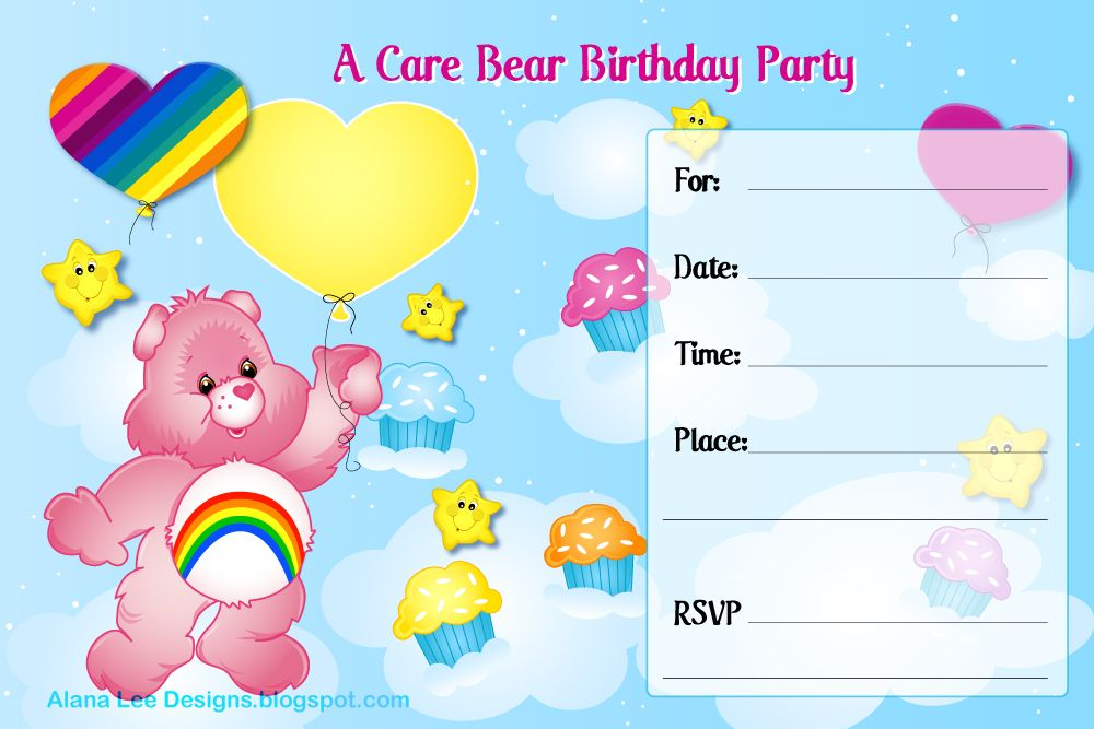 17 Best images about Care bears party Troetelbeertjes feest on – Care Bears Birthday Invitations