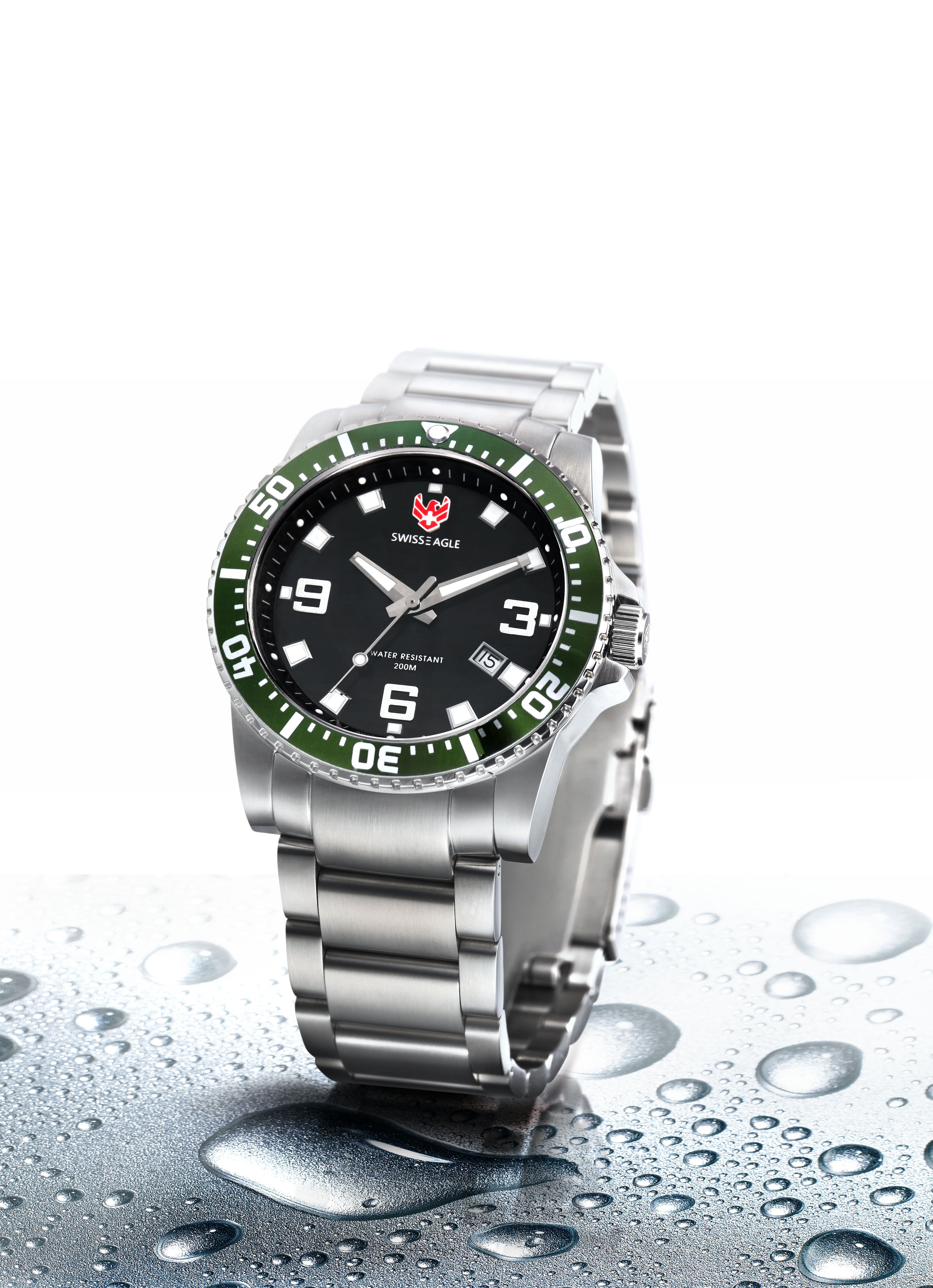 712e6153aa32 The Swiss Eagle Admiral SE-9007-33 is a watch to be admired! It features a  Super Luminous Dial, Uni-Directional Turning Dive Bezel in Green & Solid  Marine ...