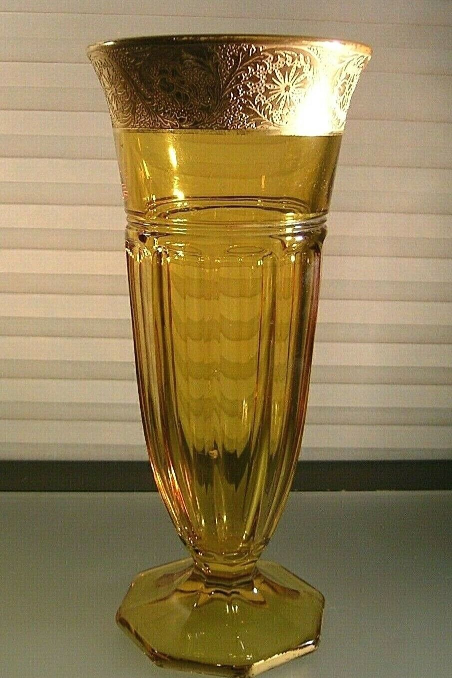 Czech Bohemian Glass Cobalt Blue and Gold Gilt Hand