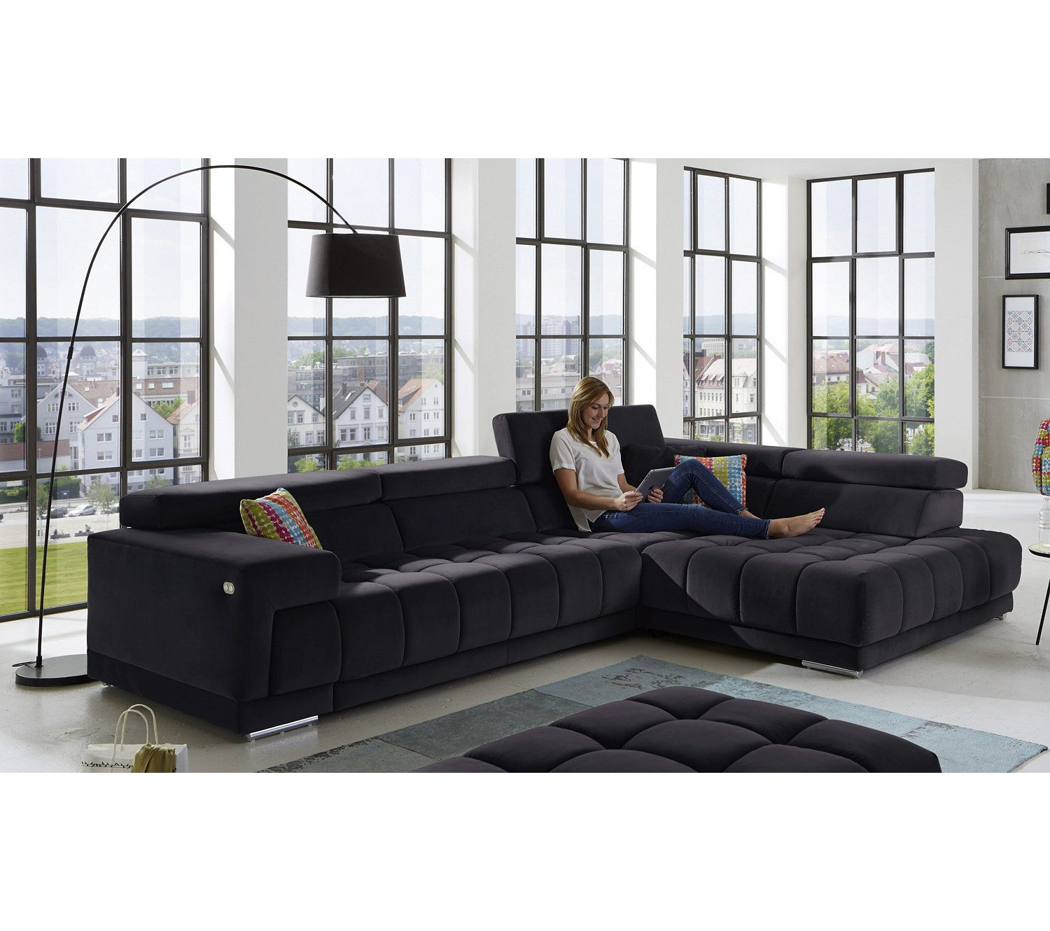 Canape Dangle Droit Relax Pack Full Option Ocean Tissu Salsa Anthracite Canape Angle Meubles De Salon Modernes Disposition De Meubles De Salon