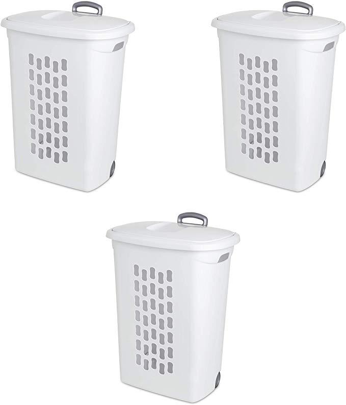 Amazon Com Sterilite 12228003 Ultra Wheeled Hamper White Lid