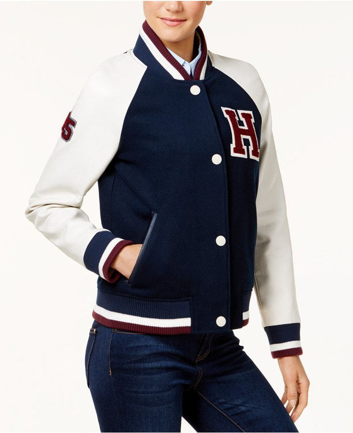 tommy hilfiger varsity jacket with leather sleeves